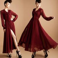 - 1 2013 women's double layer chiffon skirt long-sleeve jumpsuit full dress pleated skirt