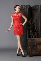 2014 wedding formal dress bridal vintage red evening dress cheongsam