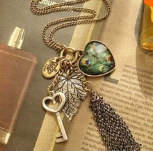 (12 pieces/lot) Love Peacock Feather Leaves Key Tassel Necklace B0163