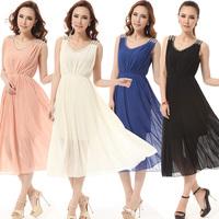 Sew-on diamonds V-neck bohemia one-piece dress multicolor
