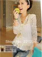 Free shipping 2014 Women Fashion Shoulder Pad V Neck Lace cardigan Stitching Hollow Blouse Shirt