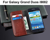 Retro Vintage PU Leather Wallet Stand case for samsung Galaxy Grand Duos i9082 Luxury Mobile Phone cases bags with Card holder