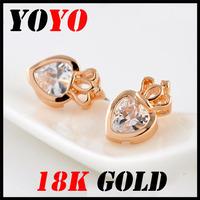 Fashion Seconds Kill Freeshipping Earrings 2014 New Jewelry Women Earring Bijoux 18k -plated Crown Heart Zircon Earrings,hm016