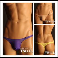 TM solid mens sexy silk thong underwear gay underwear mens thong and g strings fashion men's tight undies brand underwear