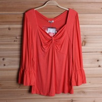 New arrival 2013 women t-shirt square collar bow modal cotton three quarter sleeve female T-shirt
