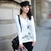 2014 spring women's national trend V-neck slim long-sleeve T-shirt female 100% cotton print plus size basic shirt
