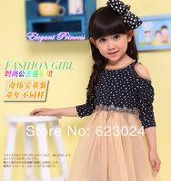 Free shipping wholesale girls long sleeve strapless dress,girls party dress