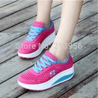 FREE SHIPPING swing shoes women's sport shoes wedges platform shoes net fabric casual single shoes