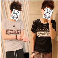 2014 summer male personality basic shirt 100% cotton national trend short-sleeve T-shirt male short-sleeve