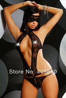 Sexy Lingerie Black Lace Teddy Dress+Eyeblind New Set Sleepwear Costume Underwear  Uniform ,Kimono