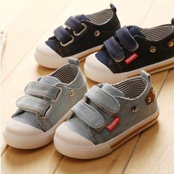 2014 новый ребенок джинсовые туфли хлопок производства мужской детской обуви ребенок sneakers1 - 3 лет дети холст обувь