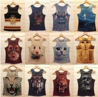 2014 summer 3d animal graphic vest patterns tight sports vest leopard print personalized three-dimensional vest