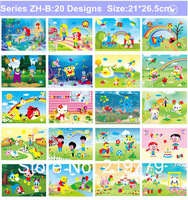 20designs Cartoon EVA foam Puzzle Sticker Princess Mickey Handmade Art Craft Kits for Kids Baby Handicraft Material 3-6 years