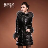 Genuine leather queen clothing female 2014 fur genuine sheepskin leather down coat medium-long