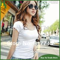 L1 Summer Modal Cotton Slim Tight Women U Collar Short Sleeve T Shirts