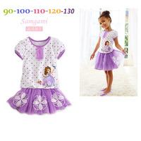 100% New,Free Shipping,Retail Good Quality Girl Princess Sofia Skirt Sets,Girls Clothes Set,Child Dot White T-shirt ,