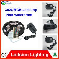 5m 300 LED 3528 RGB color changing non waterproof fleixble strips set + 44 Keys IR remote+12V 2A 24W EU/AU/US power adapter