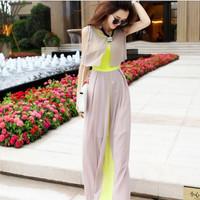 2014 new summer women fashion Maxi Chiffon bohemian beach dress temperament Slim Patchwork sleeveless long dress  S,M,L In stock