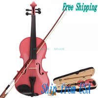 New 4/4 Pink Acoustic Violin & Case & Bow & Rosin for Violin Beginner Y00274
