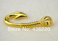 free shipping DIY bracelet Jewelry accessory 10pcs a lot gold plated fish hook pendant(B60004)
