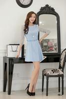 Spring women's chiffon one-piece dress slim o-neck polka dot three quarter sleeve solid color basic skirt