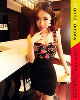 Slim Fit Flower Print Night Club Bodycon Dresses For Women Hot Sale 2014 Women Sexy Night Dress