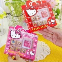 Wholesale cute Hello Kitty Wooden Handle Stamp Inkpad set /Children Toy Seal Gift for kids(6 pcs/set),4165