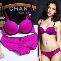 Free Shipping New 2014 Fashion sexy deep vs V-neck push up glossy seamless cotton memory women underwear bra set