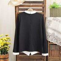 Spring 2014 new women symmetrical geometric pattern printing stitching lapel long-sleeved shirt blouse tz-2343
