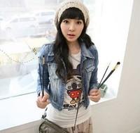 2014 New Style Girls Denim Jacket Distressed Crop Denim Jean Jacket Coat Women outwear
