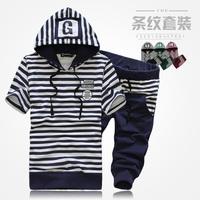 2014 hot sale new arrival leisure set head shipping men's sleeve striped hoodies shorts fashion sport slim sweatsuit suit summer