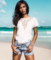 Free shipping 2014 new women's Carved cutout chiffon shirt fashion all-match fashion female hollow out t shirt