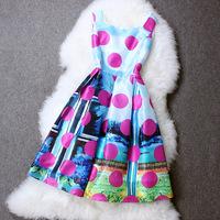 2014 New Fashion Women Summer Dresses European High Street Printed Dot Retro Sleeveless Vest Dress One Piece Vestidos