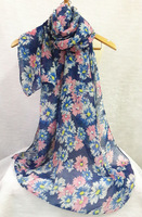 Pretty Flower Hijab shawl Women shawl Long size Voile soft material Scarves Fashion Design in 2014
