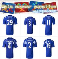A+++ Best 100% Thailand 2014/15 Chelsea home blue soccer jersey T-shirt Torres Lampard DavidLuiz Hazard Oscar socce uniform
