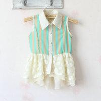 (4pieces/lot)Children's dresses girls Chiffon shirt Striped lace dress Single-breasted chiffon dress summer