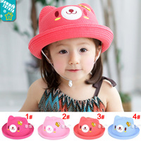 Lovely Bear Children Girl Straw Hat with Angel Wings Kids Toddler Bear Hat Caps Girl Sun Hats Bucket Hats  10pcs MZX-14011