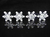 12Pcs Snowflake Crystal Pearl Bridal Wedding Prom Hair Pins Hair Accessory A-66