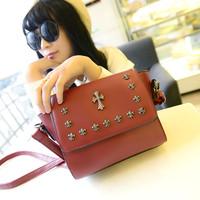 2014 women's handbag small bag rivets smiley messenger bag casual bag