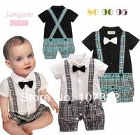 hot sale Male child romper baby boy suspenders plaid romper gentleman clothes with tie short sleeve straps jumpsuit wholesale