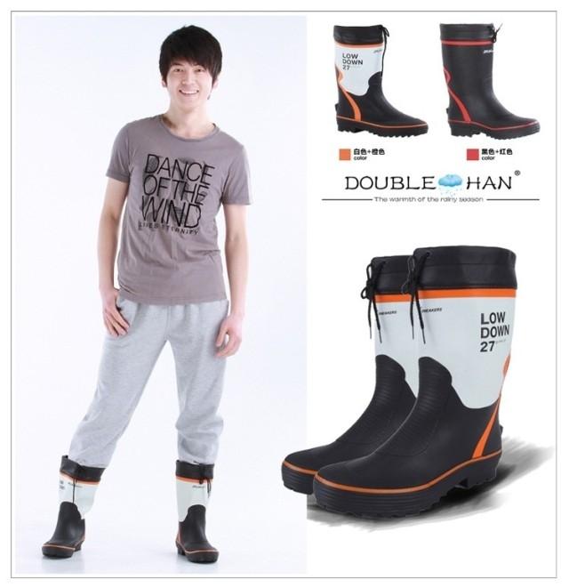 Men rain boots slip-resistant rainboots water shoes rain shoes knee-high male boots(China (Mainland))