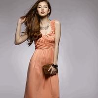 Honey aroma low cut ruffle design long one-piece dress 118783