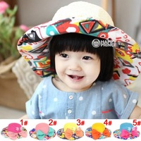 5pcs Big Bowknot Children Girl Sunmmer Starw Hats Foldable Girl Floral Sun Hats Fashion Beach Hat&Caps for Girl MZX-14013