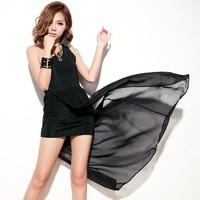 Elegant black chiffon one shoulder before placketing miniskirt 10783 one-piece dress