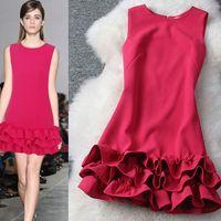 2014 spring fashion pleated ruffle  dress tank