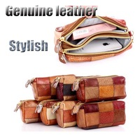(6pcs/lot)2014 Best selling random-colors double zipper racial handmade genuine leather women wallet free shipping (WP273)