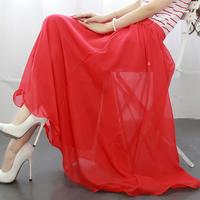 Women Chiffon Pleated Retro Maxi Long Skirt Elastic WaistBand Dance Dress S-XXXL