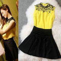 2014 summer beading paillette vest top small short set