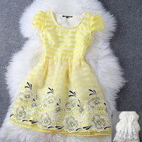 2014 summer silk organza print stripe embroidered women's short-sleeve dress