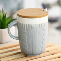 Free shipping sweater pattern ceramic coffee mug 5colors options novelty items with cover and spoon 2014 new arrival